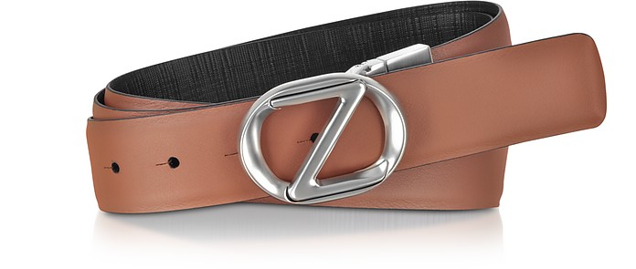 Leather Adjustable and Reversible Men's Belt - Ermenegildo Zegna