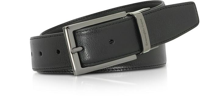 Black Leather Reversible & Adjustable  Belt  - Ermenegildo Zegna