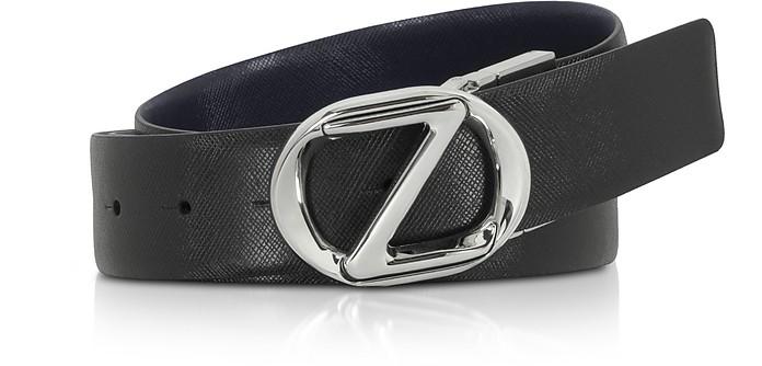 Black Crossgrain Leather Adjustable Belt - Ermenegildo Zegna