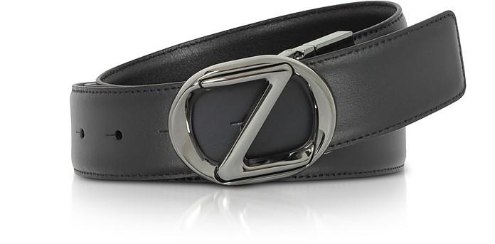 Black Smooth Leather Adjustable Belt - Ermenegildo Zegna