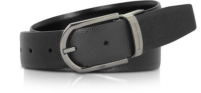 Black Lizard Embossed Leather Adjustable Belt - Ermenegildo Zegna