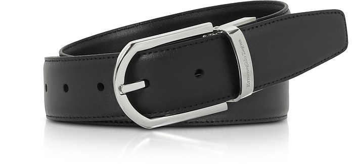Black Smooth Leather Adjustable Belt w/Signture Buckle - Ermenegildo Zegna