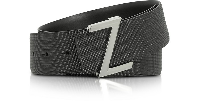 Black Embossed Leather Adjustable Belt - Ermenegildo Zegna