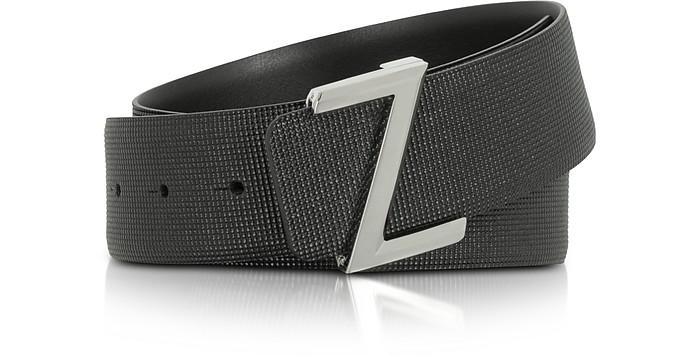 Black Embossed Leather Adjustable Belt