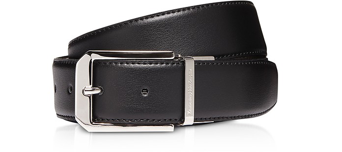 Black Genuine Leather Reversible and Adjustable Men's Belt - Ermenegildo Zegna