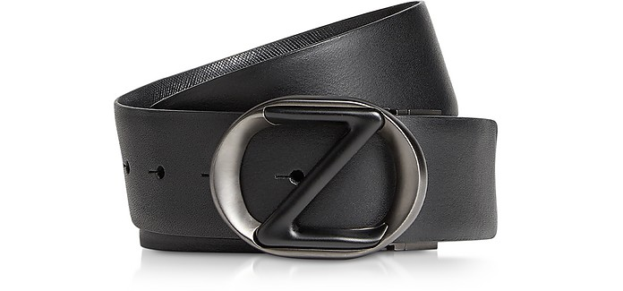Black Smooth & Saffiano Leather Adjustable and Reversible Men's Belt - Ermenegildo Zegna
