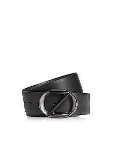 Black Smooth & Saffiano Leather Adjustable and Reversible Men's Belt