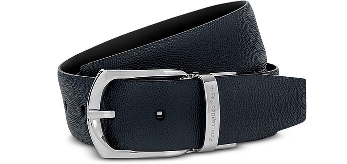 Navy/Black Calf Leather Men's Belt - Ermenegildo Zegna