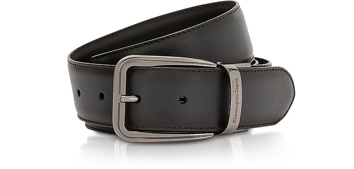 Navy Blue Calf Leather Men's Belt - Ermenegildo Zegna