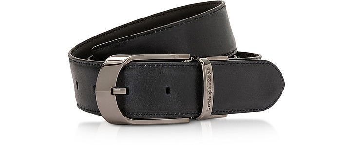 Blue Cow Leather Adjustable Men's Belt - Ermenegildo Zegna