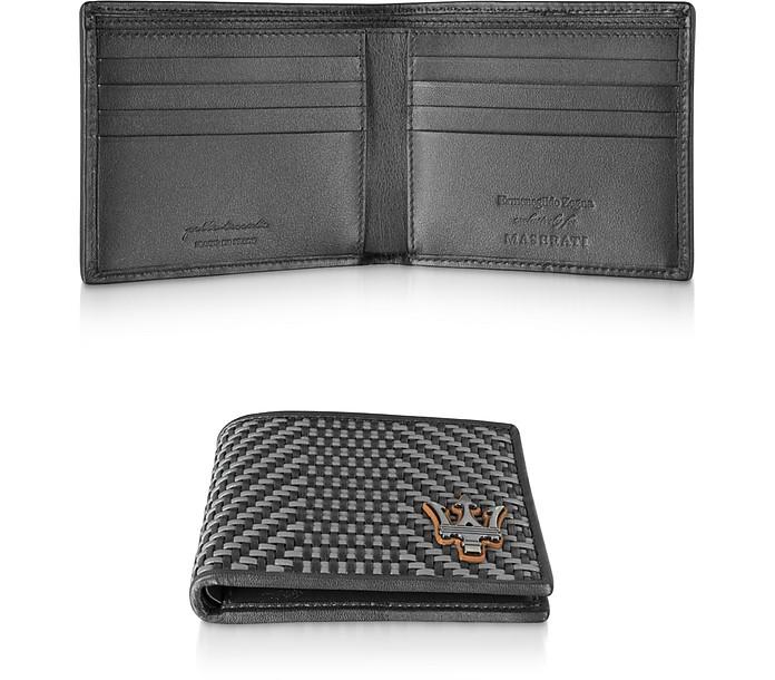 Black Woven Leather Men's Billfold Wallet - Ermenegildo Zegna
