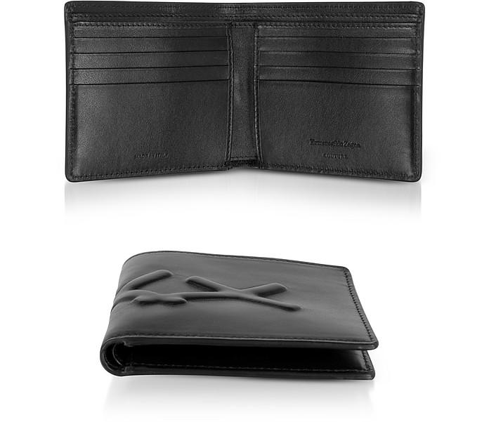 Black XXX Embossed Leather Billfold Wallet - Ermenegildo Zegna