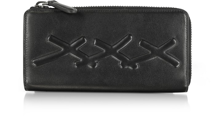 Black XXX Embossed Leather Continental Phone Wallet - Ermenegildo Zegna