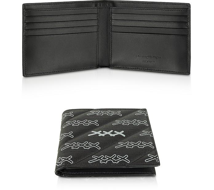 Black Coated Canvas Signature Men's Wallet - Ermenegildo Zegna
