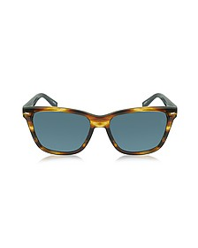 EZ0002 50V Havana & Blue Acetate Men's Sunglasses - Ermenegildo Zegna