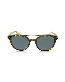EZ0006 52A Runde Herren-Sonnenbrille aus Acetat in havana und gold - Ermenegildo Zegna