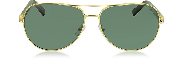 EZ0010 30R Gold Metal & Brown Acetate Aviator Men's Sunglasses - Ermenegildo Zegna
