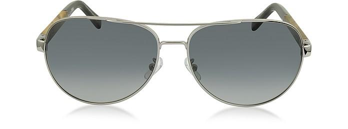 EZ0010 14B Chrome Polarized Aviator Men's Sunglasses - Ermenegildo Zegna