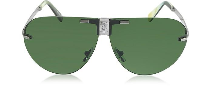 EZ0015 Metal Folding Aviator Men's Sunglasses - Ermenegildo Zegna