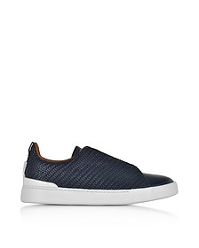 Deep Blue Triple Stitch Woven Leather Low Top Sneakers - Ermenegildo Zegna