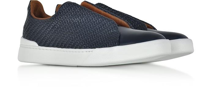 Sneakers Triple Stitch in Pelle Tessuta Blu - Ermenegildo Zegna. Sold Out 7ff5dc4fcc1
