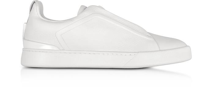 Triple Stitch Optic White Leather Low Top Sneakers - Ermenegildo Zegna