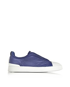 Electric Blue Grained Triple Stitch Sneakers - Ermenegildo Zegna