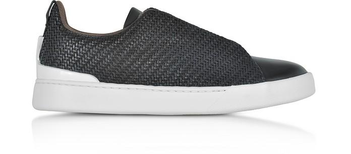 Triple Stitch Pelle Tessuta Leather Slip-on Sneakers - BlackErmenegildo Zegna EOQS0