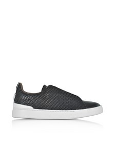 Black Triple Stitch Woven Leather Low Top Sneakers - Ermenegildo Zegna 杰尼亚