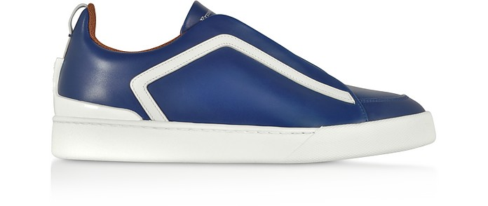 Triple Stitch Blue Leather Low Top Sneakers - Ermenegildo Zegna