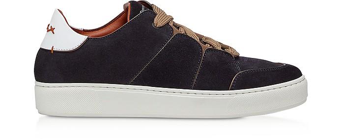 Tiziano Navy Suede Leather Men's Sneakers - Ermenegildo Zegna