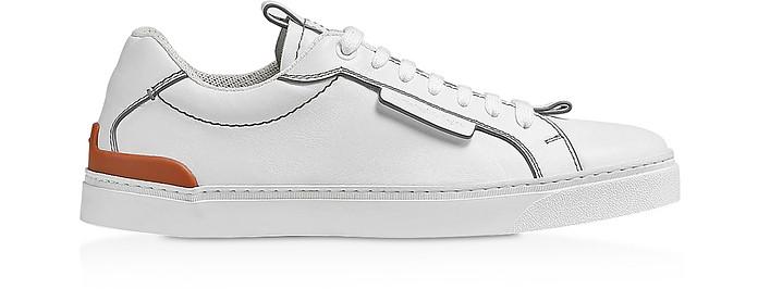 White Ferrara Leather Men's Sneakers - Ermenegildo Zegna