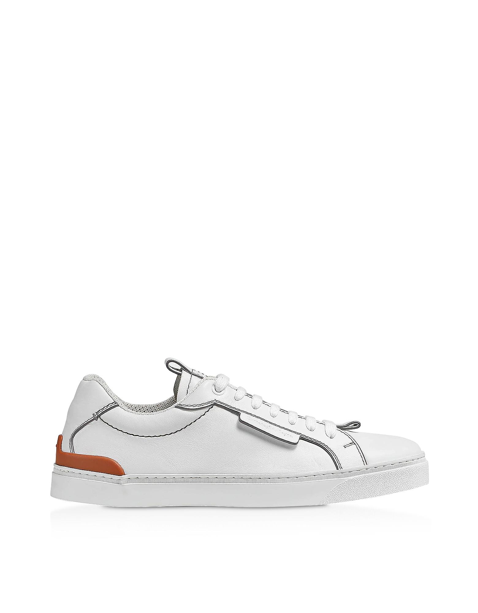 Ermenegildo Zegna Sneakers WHITE EZ LUX LEATHER MEN'S SNEAKERS