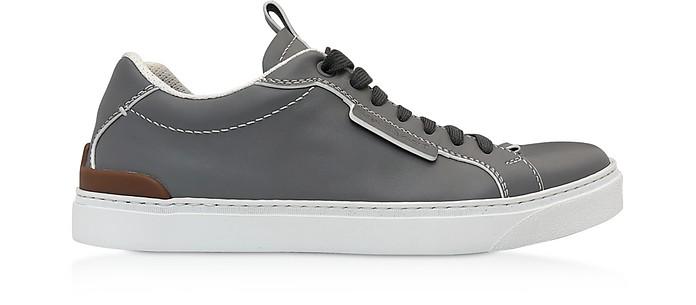 Ferrara Gray Calf Leather Men's Sneakers - Ermenegildo Zegna