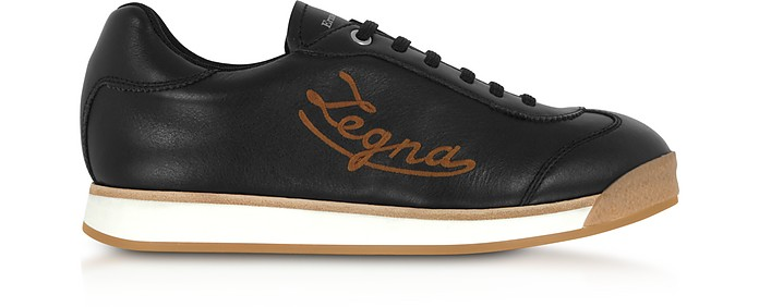 Marcello Signature Black Leather Men's Sneakers - Ermenegildo Zegna