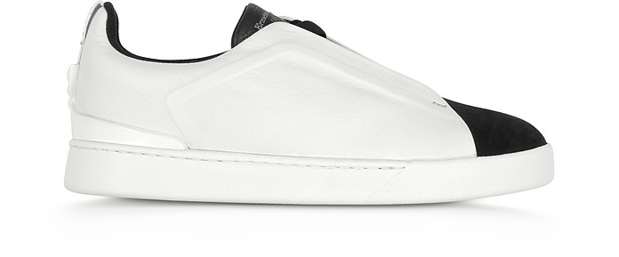 Black and White Triple Stitch Woven Leather Low Top Sneakers - Ermenegildo Zegna