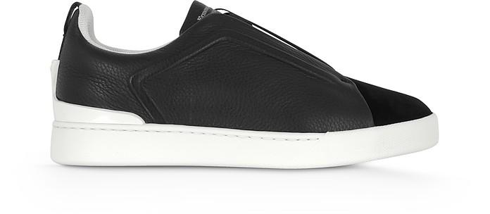 Deep Blue Triple Stitch Woven Leather Low Top Sneakers - Ermenegildo Zegna