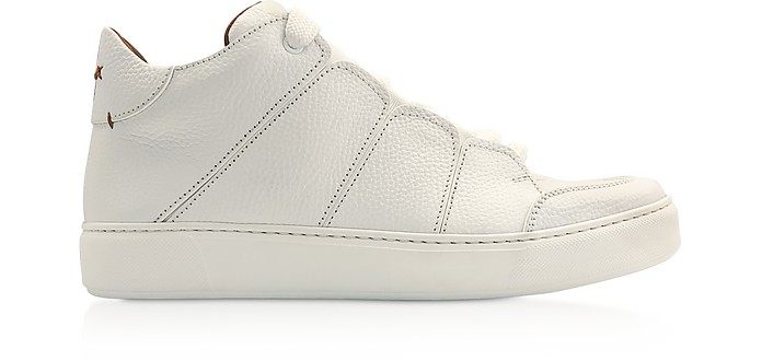 White Leather Tiziano High-Top Sneakers - Ermenegildo Zegna