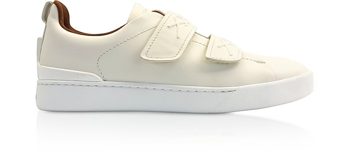 White Leather Low-Top Sneakers - Ermenegildo Zegna