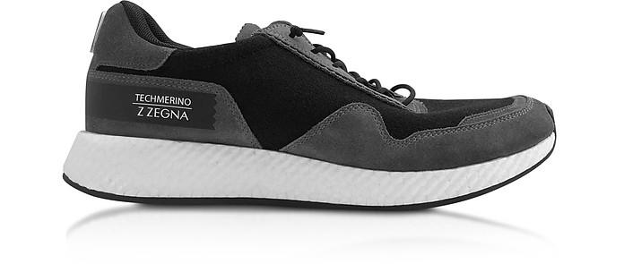 Black Techmerino Low-Top Sneakers - Ermenegildo Zegna