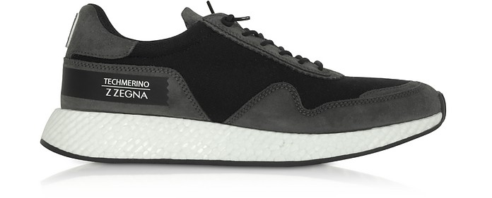 Black Techmerino Low-Top Sneakers - Ermenegildo Zegna