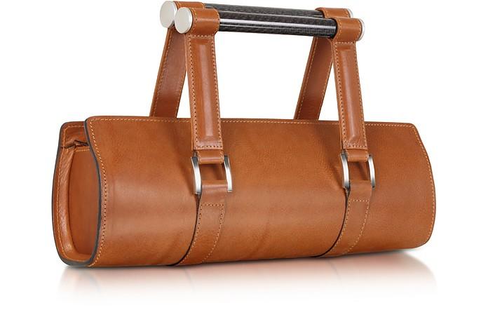 Carbon Lady Vintage - Brown Leather Baguette Bag with Ergonomic Handles  - Aznom