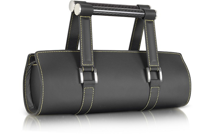 Carbon Lady - Black Leather Baguette Bag with Ergonomic Handles - Aznom