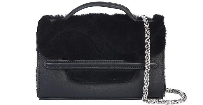 Nina Leather and Fur Super baby Shoulder Bag - Zanellato