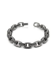 Zo-Chain Stainless Steel and Black Enamel Link Bracelet - Zoppini