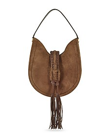 Ghianda Small Chocolate Suede Knot Hobo Bag - Altuzarra