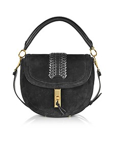 Black Suede Ghianda Top Handle Saddle Bag - Altuzarra