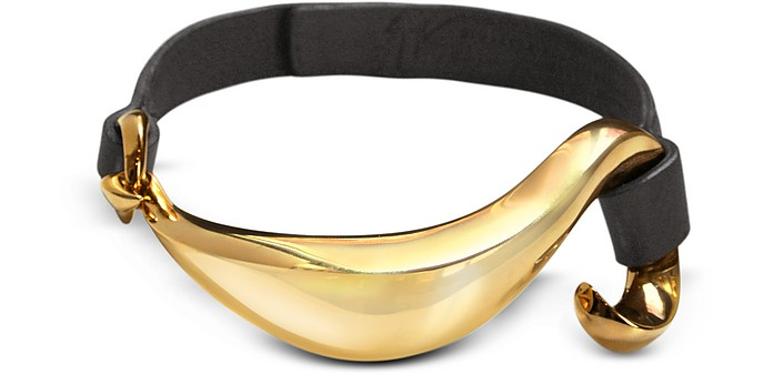 Leather and Golden Brass Collar Necklace - Giuseppe Zanotti