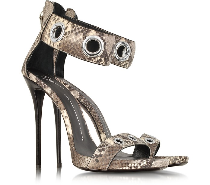 Python Grommet Ankle-Strap Sandals - Giuseppe Zanotti