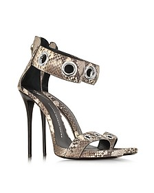 Python Grommet Ankle-Strap Sandals